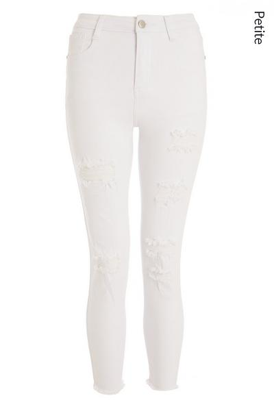Petite White Ripped Skinny Jeans